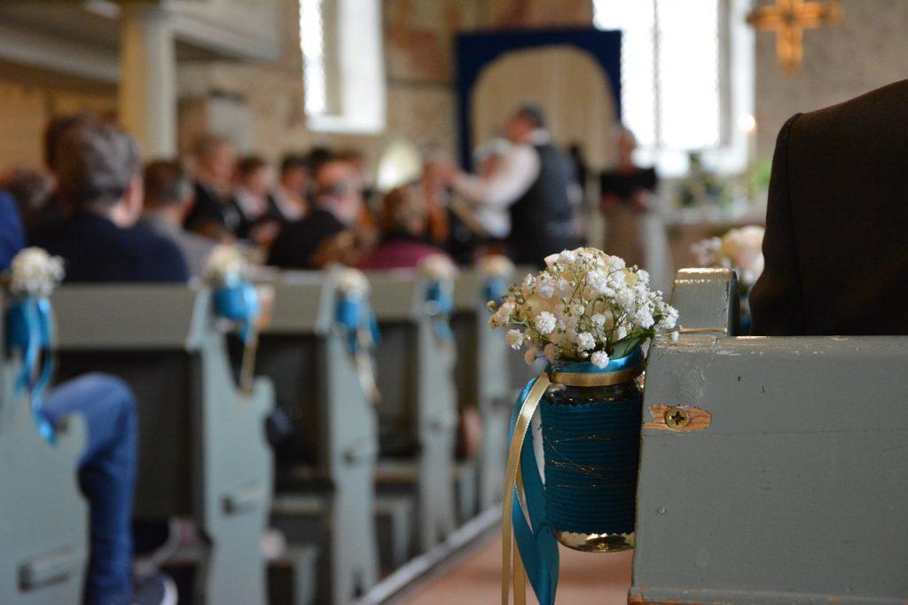 golden weddings, deco, blue